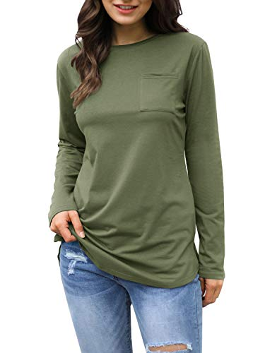 (Mafulus Womens Long Sleeve Crew Neck Tunic Tops Casual Loose Fit T Shirts with)
