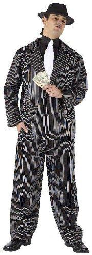 Pinstripe Gangster Adult Shoes (Fun World Men's Gangster 20s Pimp Suit Costume One Size Black)