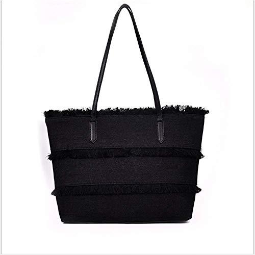 Large Women Soft Satchel jeans PERHAPS for PU black black Hobo Leather Bag Bags Shoulder 2pcs Totes with Denim Handbags U Tassel Designer txt7pqYw