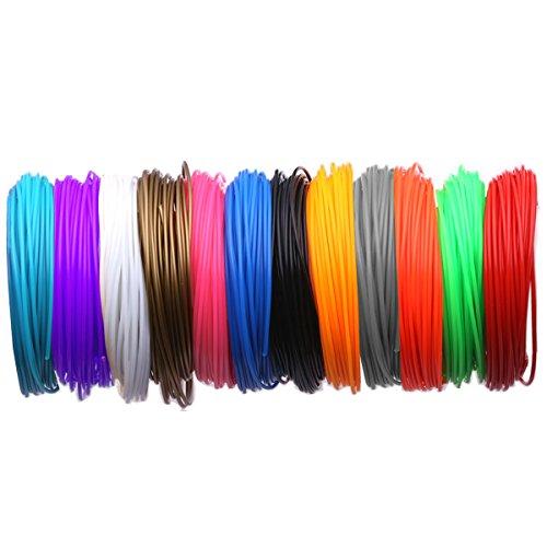 3D Pen PCL Filament Refills - 3D Pen Refill - 1.75MM 3D Doodler Den Refills - Real Stuff,Blockage-Proof (12 Colors,16.4 Ft Each) by Jumgor