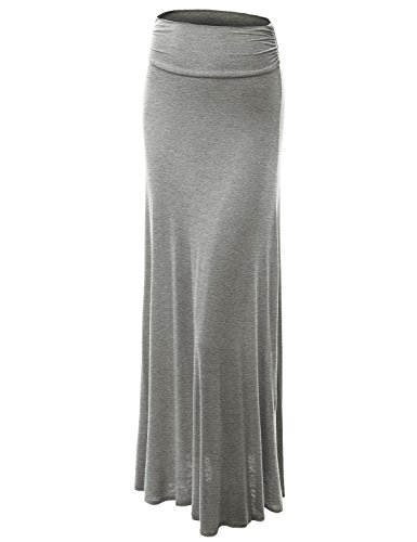 Made By Johnny WB296 Womens Lightweight Floor Length Maxi Skirt XL Heather_Grey