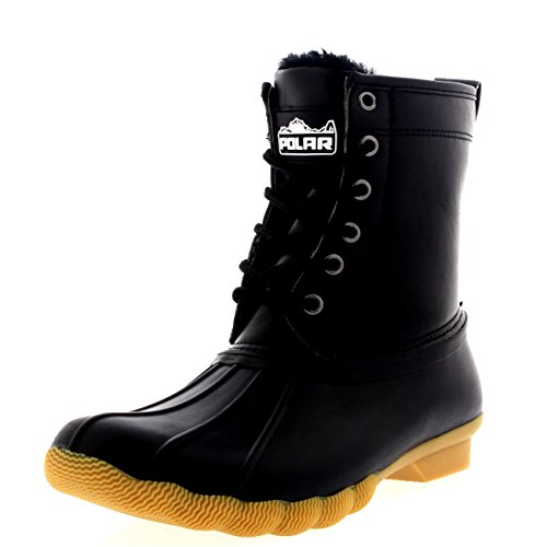 Womens Rubber Duck (Womens Original Cold Weather Winter Rubber Sole Snow Rain Boots - 10 - BLK41 YC0299)