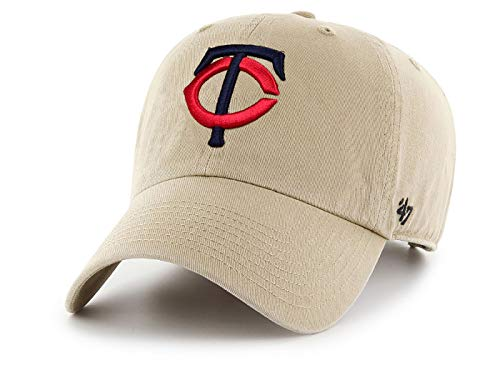 '47 MLB Khaki Clean Up Adjustable Hat, Adult (Minnesota Twins) (Minnesota Twins Baseball Hat)