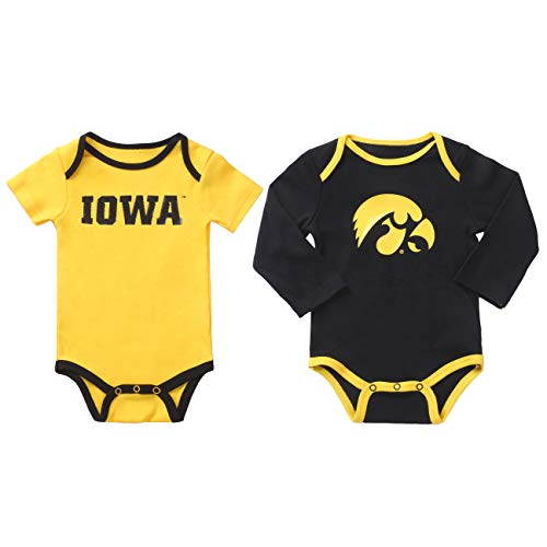 NCAA Iowa Hawkeyes 2 pcs Baby Bodysuits (0-3) Black and -
