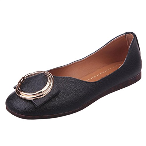 LOUSHI Office Women Shallow Fish Mouth Low Heel Shoes Pointed Single Shoes (37, Black)