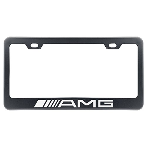 Deselen - LP-BS17PB - Stainless Steel AMG License Plate Frame with Screw Caps Cover Set, Matte Black (2 Pieces)