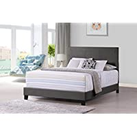 Furniture World Otto Classic Upholstered Headboard, Queen, Charcoal (Footboard and Side Rails Sold Separately)