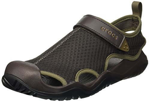 Crocs Men's Swiftwater Mesh Deck Sandal Sport, Espresso, 15 M US (Water Shoes 15)