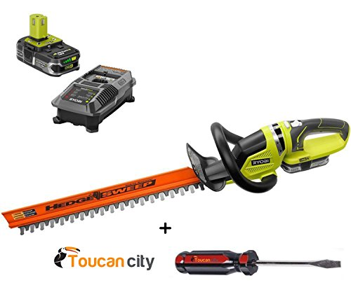 Ryobi P2660 ONE+ Lithium+ 22 in. 18-Volt Lithium-Ion Cordless Hedge Trimmer + Toucan City EXLUSIVE Slotted Screwdriver - 1.5 Ah Battery and Charger included by Toucan city