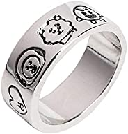 Mshion BTS Ring, Kpop BTS Merchandise for Girls Womens, Sports Fan Rings with Stainless Steel Chain