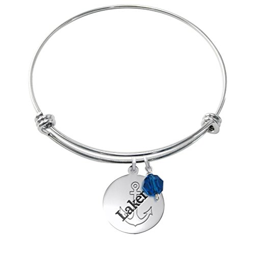 (Lake Superior State Lakers Stainless Steel Adjustable Bangle Bracelet with 17mm Round Charm & Crystal Accent)