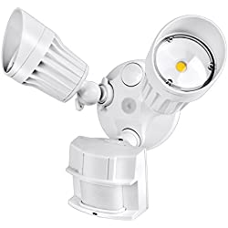 Hykolity 36W PIR Motion Detector LED Security Light, Infrared Motion Sensor 3600lm Outdoor Wall Mount Floodlight, White [250W Halogen Equivalent] 5000K Waterproof, Adjustable Dual Head