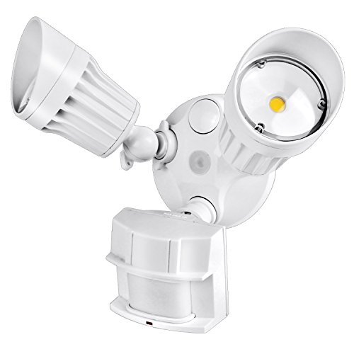 (Hykolity 36W PIR Motion Detector LED Security Light, Infrared Motion Sensor 3600lm Outdoor Wall Mount Floodlight, White [250W Halogen Equivalent] 5000K Waterproof, Adjustable Dual Head)