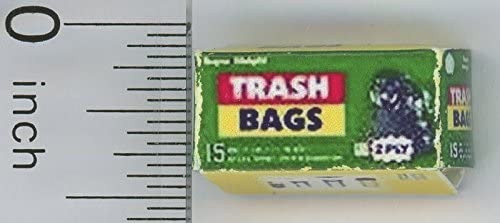 Dollhouse Miniature Box of Garbage or Trash Bags by Hudson River Miniatures