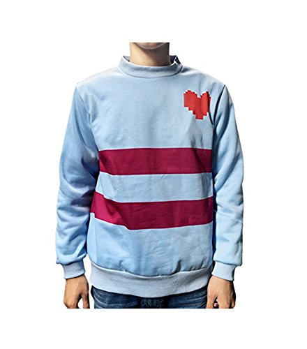 MaeFte Game Undertale Frisk Heart Blue Pullover Sweater Cosplay Top M-XXL (XXL, Blue)