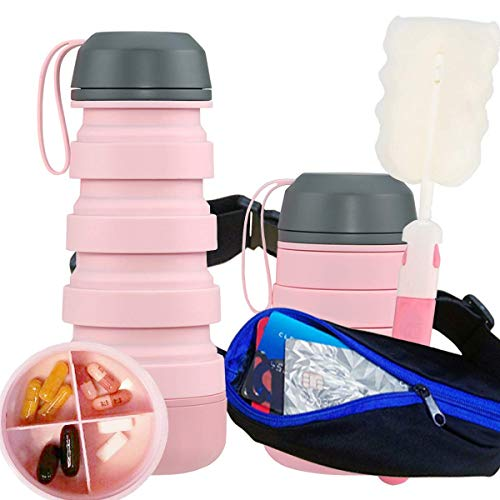 Pink Silicone Collapsible Water Bottle - Lightweight Portable Foldable Adjustable Reusable Travel Outdoor Sports Runner Workout Fitness Plus Pill Organizer Box Case By PuPeiLife (Collapsible Box Pill)