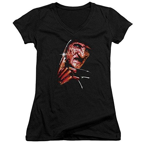 Nightmare On Elm Street Freddys Face Juniors V-Neck T-Shirt Black Small -