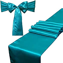 Combo Pack - 2 Satin Table Runners 12 x 108 inch & 10 Chair Sashes for Wedding Banquet Decoration, Bright Silk and Smooth Fabric Party Decor (Combo 2 Table Runner + 10 Chair Saches, Teal)