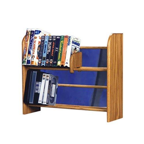 Cdracks Media Furniture Solid Oak 2 Row Dowel DVD/VHS Rack Capacity 80 DVD's/ 42 VHS Tapes Honey Finish