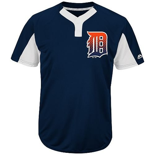 Blank Back Adult XL Detroit Tigers 2-Button Placket Cool-Base MLB Licensed Jersey (White Majestic Jersey Tigers)