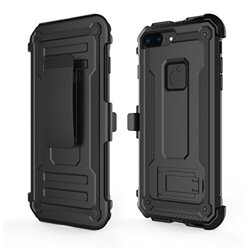 iPhone 8 Plus Case, LOZA [Kickstand] [Heavy Duty] [Dual Layer] Combo Holster Cover case with [Locking Belt Swivel Clip] for iPhone 8 Plus (Black