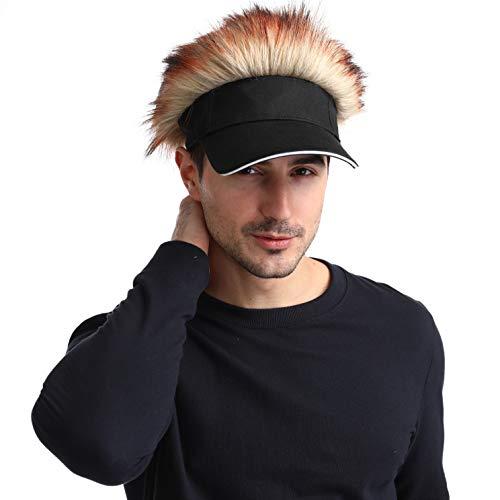 Men's Novelty Flair Spiked Hair Visor Sun Funny Golf Hats Fake Wig Peaked Adjustable Baseball Caps