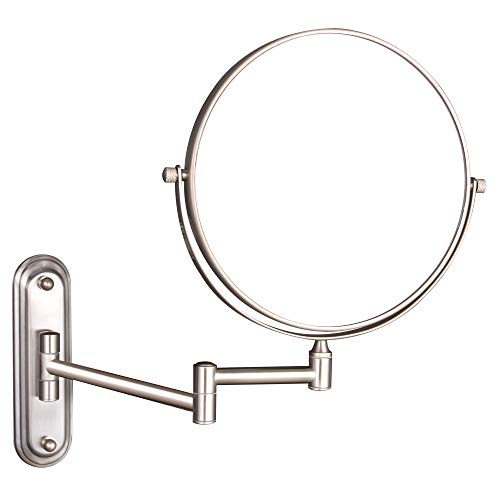 GURUN Wall Mount Magnifying Mirror Brushed Nickel Finish with 10x Magnification,8-Inch Two-Sided - Mirrors Bathroom Nickel Finish