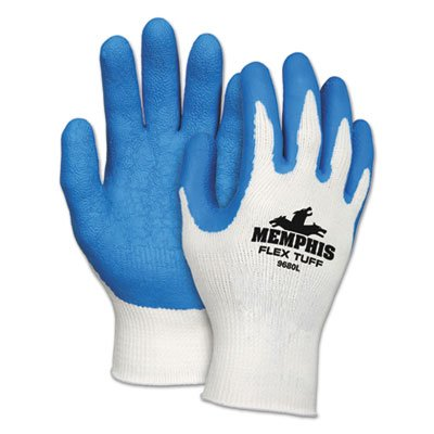 FlexTuff Latex Dipped Gloves, White/Blue, Large, 12 Pairs, Sold as 12 Each