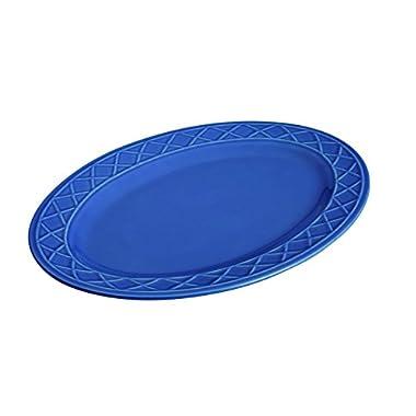 Paula Deen Dinnerware Savannah Trellis Stoneware Oval Serving Platter, 10  x 14 , Cornflower Blue