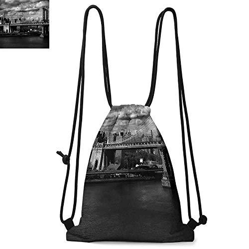 New York Printed drawstring backpack Black and White Panorama of New York City Skyline with Focus on Manhattan Bridge Photo Suitable for school or travel W17.3 x L13.4 Inch Grey