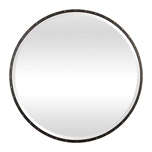 Zinc Decor Urban Industrial Black Iron Round Wall Mirror Large 42
