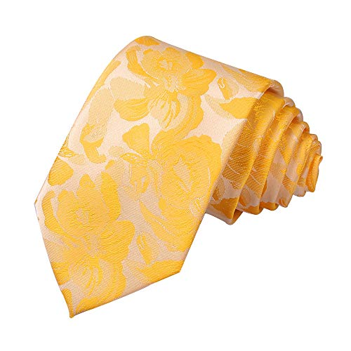 Men's Novelty Floral Ties Handmade Wedding Skinny Designer Neckties by Secdtie (One Size, Gold Yellow)
