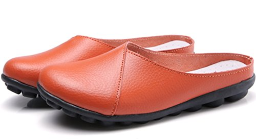 Flat Slip Orange Clarsunny Closed Toe Slipper Leather Women's on Loafer Soft Casual PF8qgt8w