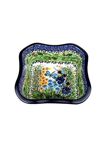 Polish Pottery Ceramika Artystyczna CA352U2380 Square Fluted Baking Serving Dish (1 Pack), 8 x 8