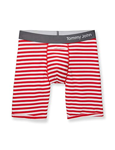 Tommy John Men's Cool Cotton Boxer Briefs - No Ride-Up Comfortable Breathable Striped Underwear for Men (True Red/White, Small)