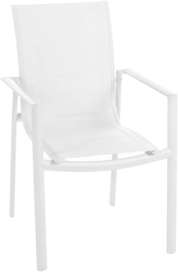 Silla apilable para Exterior de Aluminio Blanca, de 62x57x90 cm - LOLAhome
