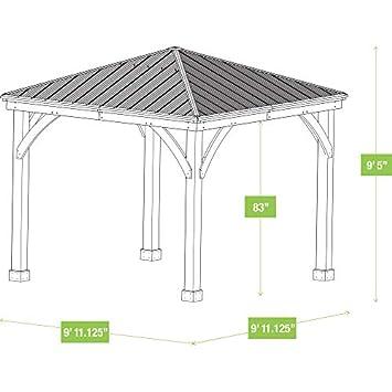 Yardistry 10 x 10 Wood Gazebo with Aluminum Roof
