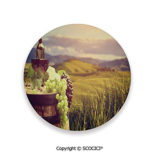 Ceramic coaster With wood Bottom Protection, For Mugs, Wine Glasses, Protects Furniture Round,Wine,Italy Tuscany Landscape Rural Vineyard Autumn Harvest,3.9