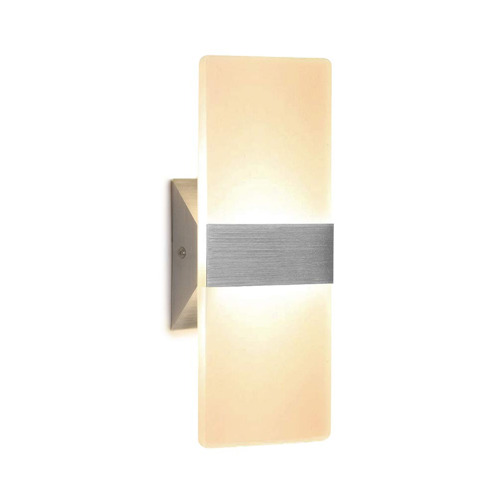 Wall Sconce 12W LED Modern Wall Lamp Warm White, Acrylic Material Wall Mounted Wall Lights Decorative Wall Sconces