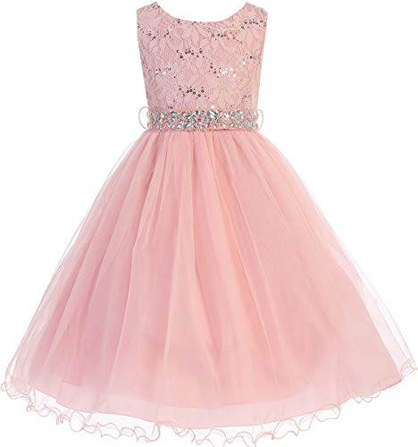 - Little Girl Glitters Sequined Bodice Double Layer Tulle Rhinestones Sash Flower Girl Dress Blush 4 JK3670