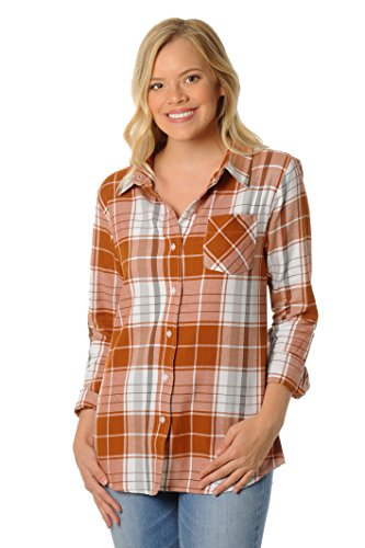 UG Apparel NCAA Texas Longhorns Women's Boyfriend Plaid Shirt, Large, Burnt Orange