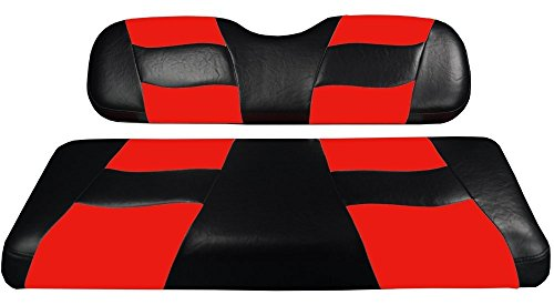 Madjax Riptide 2004-Up Black/Red Two-Tone Front Seat Covers for Club Car Precedent Golf Carts