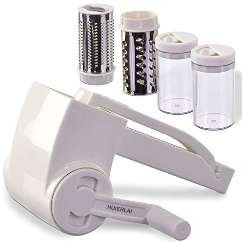 HUIERLAI Professional-Grade Rotary Grater - 2 Stainless Steel Drums - Grate Or Shred Hard Cheeses, Vegetables, Chocolate, And More - Award-Winning Design And Heavy-Duty Build Quality Lasts A Lifetime!