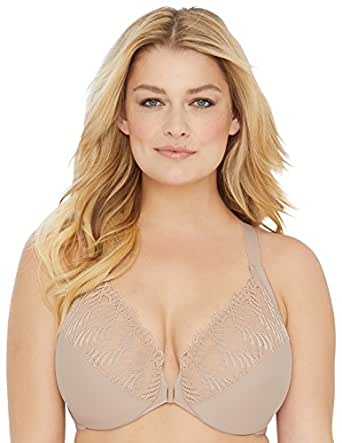 Glamorise Women's Plus Size Full Figure Front Close Lace T-Back Wonderwire Bra #1246, Beige, 12B