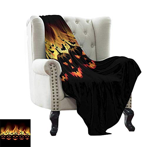 LsWOW Weighted Blanket Vintage Halloween,Happy Halloween Image with Jack o Lanterns on Fire with Bats Holiday,Black Scarlet Warm & Hypoallergenic Washable Couch/Bed Throws 60