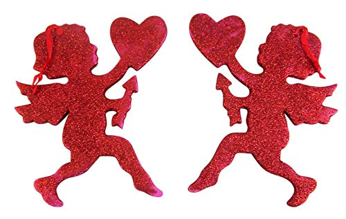 Valentine's Day Red Glitter Cupid Hanging Decoration, 7 3/4 Inch, Pack of 2