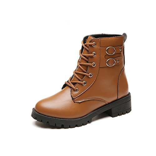 Ronald Turner Autumn Winter Handmade Punk Genuine Leather Snow Boots Women Motorcycle Boots Women Mid-Calf Boots Shoes Woman Brown - Www Uk Boots