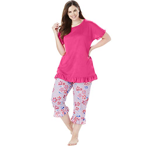 Dreams & Co. Women's Plus Size Cool Dreams Ruffled Capri Pajama Set - Raspberry Sorbet Floral, 22/24