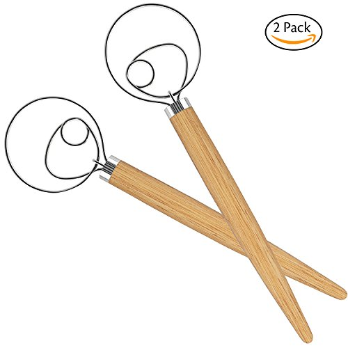Acerich 2 Pack 13.5 Inch Stainless Steel Danish Dough Whisk Dutch Dough Whisks Bread Whisk