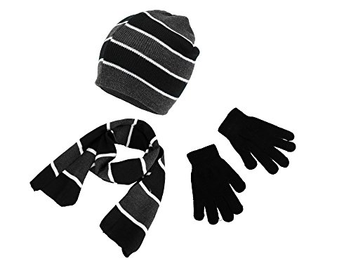Polar Wear Boys Knit Hat, Scarf And Gloves Set- Black/ Gray